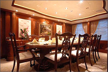 A dining room in a yacht.