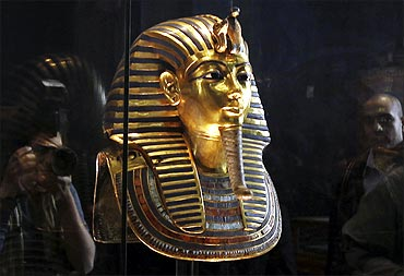 A golden funerary mask of King Tutankhamun is on display at the Egyptian Museum in Cairo.