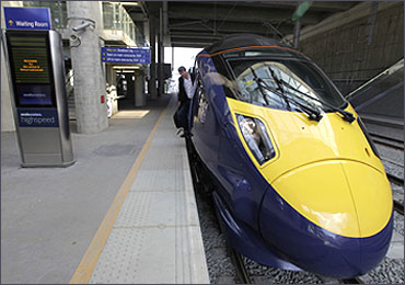 A high speed 'Javelin' train waits at a platform at Stratford International Station, east London.