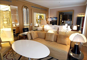 A view of a suite at the luxury Royal Monceau Raffles Hotel in Paris.