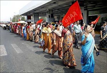 Air India employees during a strike.