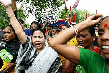 Mamata Banerjee takes part in a protest rally in Singur