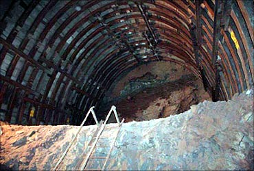 Inside view of Tunnel under excavation.
