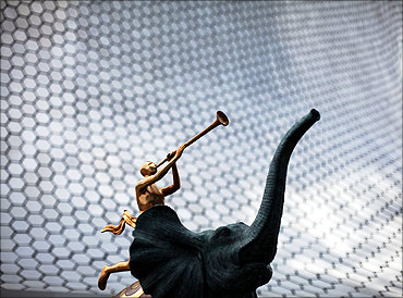 Salvador Dali's sculpture Triumph Elephant stands outside the Soumaya Museum.
