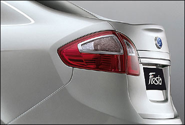 Rear view of new Ford Fiesta.