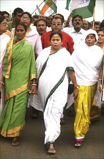 West Bengal Chief Minister Mamata Banerjee at a rally in Singur.
