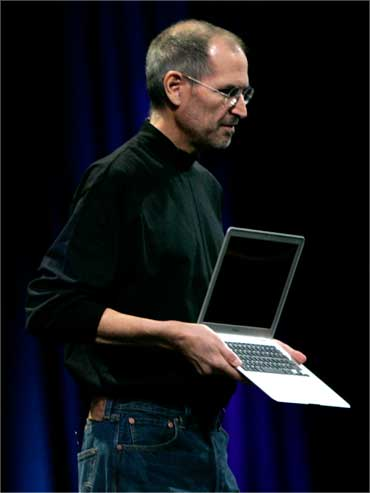 Jobs shows Apple's ultra thin notebook computer, 'MacBook Air' on Jan 15, 2008.