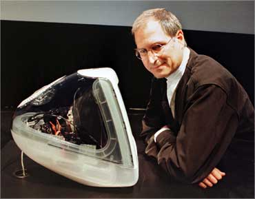 Jobs stands next to the iMAC DV Special Edition in Cupertino on Oct 5, 1999.