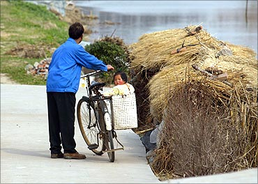 A Chinese girl sits on her father's bicycle in a Shanghai suburb.