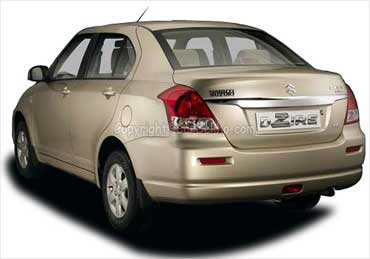 Rear view of Maruti Swift DZire.