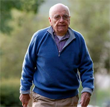 News Corp chairman and CEO Rupert Murdoch arrives at the Sun Valley Inn in Idaho on July 9, 2010.
