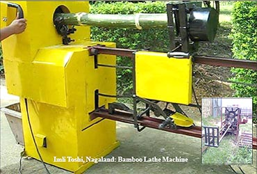 Bamboo lathe machine.