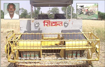Reaper windrower machine, Bhagwan Singh Dangi (inset).