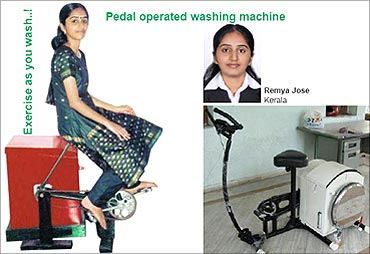 Remya Jose's washing-cum-exercise machine.
