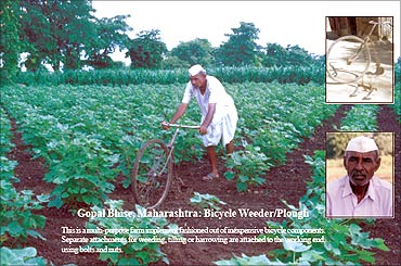 Gopal Bhise with Bicycle Weeder.