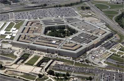 An aerial view of the Pentagon building in Washington.