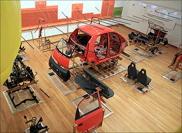 A dismantled Tata Nano at the 'Unpacking the Nano' symposium at Cornell University in Ithaca, New York.