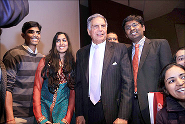Ratan Tata with some students at the Cornell University.
