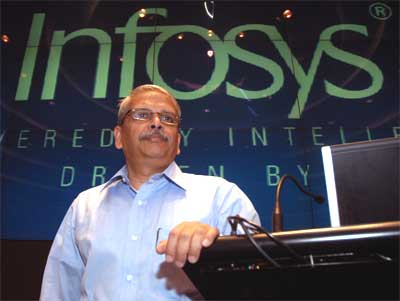 Kris Gopalakrishnan speaks during the announcement of the company's quarterly results.