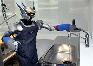 Humanoid robot HRP-2 uses a tap after washing a cup.