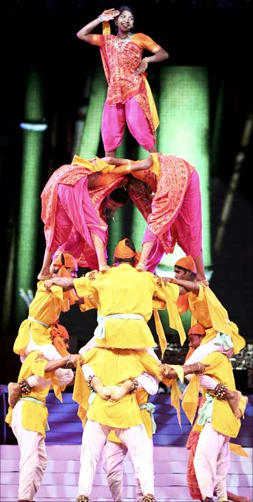 Folk dancers participate in the rehearsals for the Navratri festival in Ahmedabad.