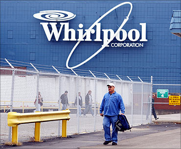 A worker walks out of the Whirlpool plant.