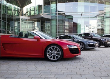 Audi cars on display.