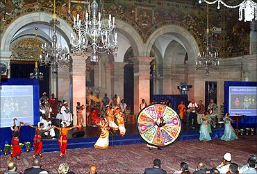 Indian and African dancers perform during a cultural programme at Rashtrapati Bhavan.