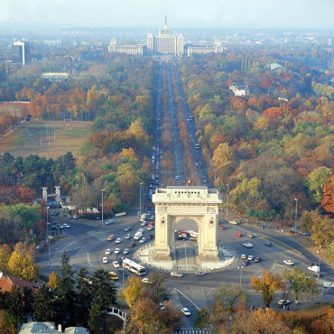 Romania faces long road of economic hardship. A view of Arc de Triomphe in Bucharest.