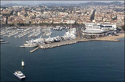 A general view shows the harbor and the Festival Palace (R), the venue of the G20 summit in Cannes.