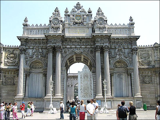 One of the main entrance gates of the Dolmabahce Palace in Istanbul.