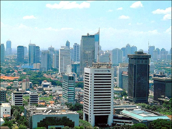 Jakarta, the capital of Indonesia and the country's largest commercial centre.
