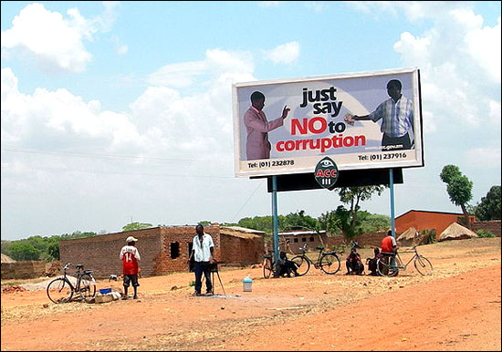A campaign to prevent bribes in Zambia.