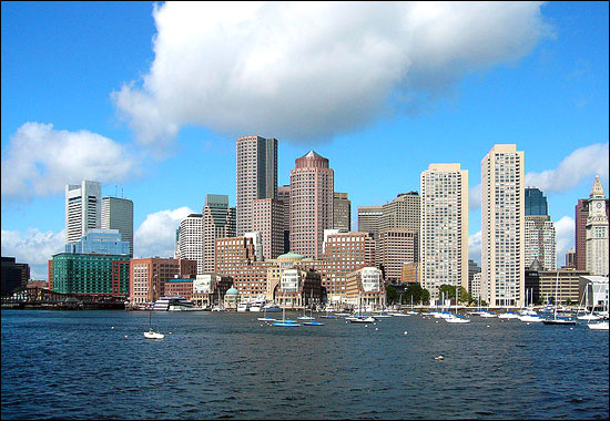 Skyline of downtown Boston's Financial District, seen from inner Boston Harbor.