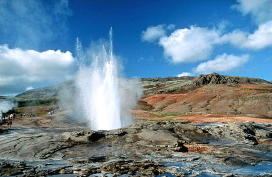 The erupting Geysir in Haukadalur valley, the oldest known geyser in the world.