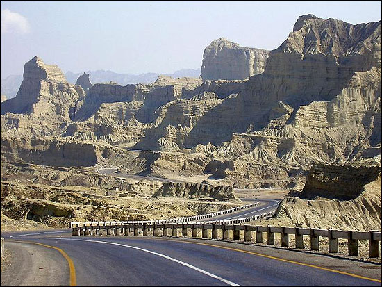 The Makran Coastal Highway starts from Karachi and goes all the way to Gwadar.