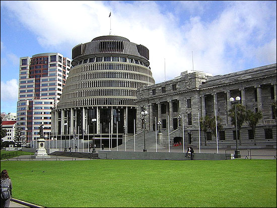 New Zealand government Beehive and the Parliament Buildings, in Wellington.