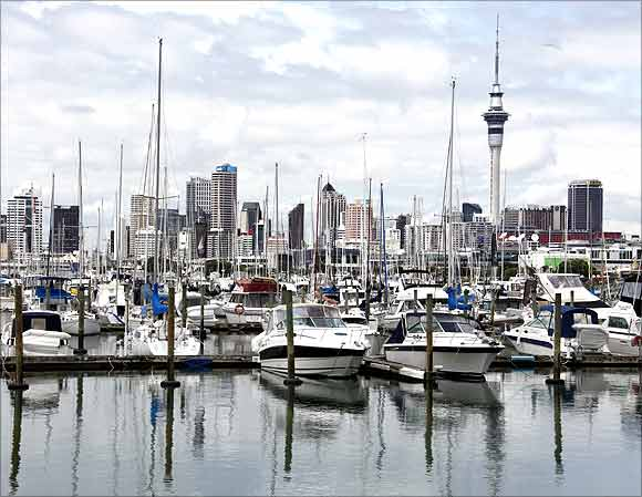 A view of the city skyline from Westhaven in Auckland.