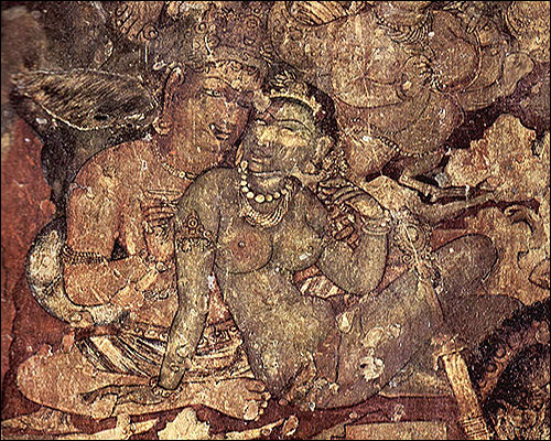 Sixth century paintings at the Ajanta Caves in Aurangabad, Maharashtra.