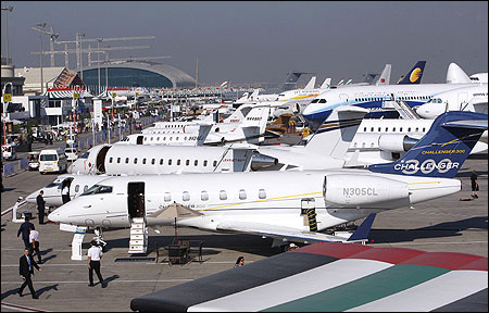 Visitors tour the second day of the Dubai Airshow.
