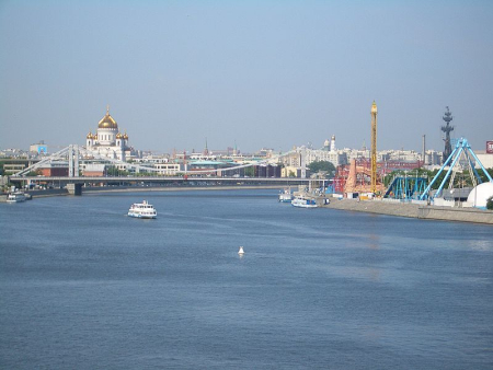 Moscow River near Gorky Park, with Crimea Bridge and Cathedral of Christ the Saviour in the background.