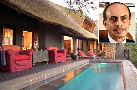 Singita Lodge game park. Adi Godrej (inset).