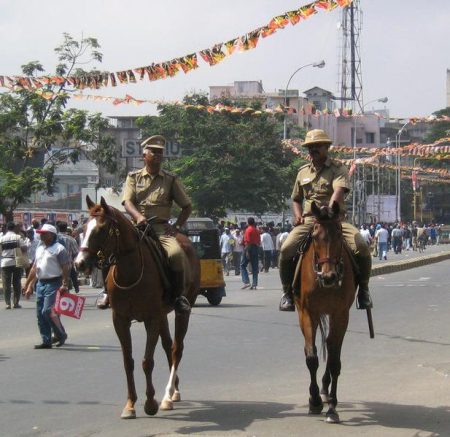 Chennai City Mounted Police officers on patrol.