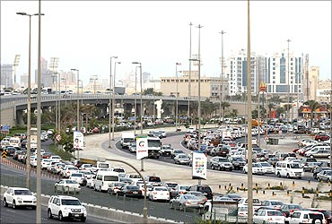 A traffic jam is seen on the Sheikh Isa Bin Salman Highway.