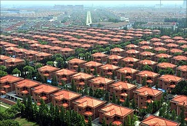 A view of villas built for residents in the Huaxi village of Jiangyin.