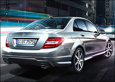 Side-rear view of new Merc C-Class.