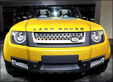 A concept version of Land Rover's defender is seen at the Jaguar-Land Rover exhibition booth.