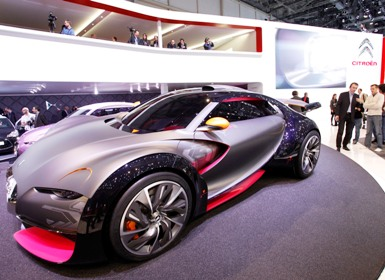 The new Citroen Survolt concept car is displayed on the exhibition stand of Citroen.