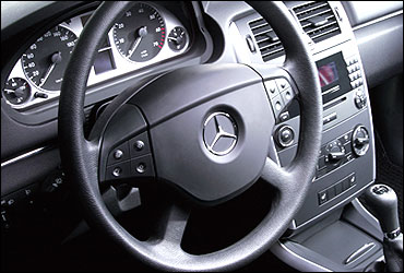Steering wheel of Merc B-Class.