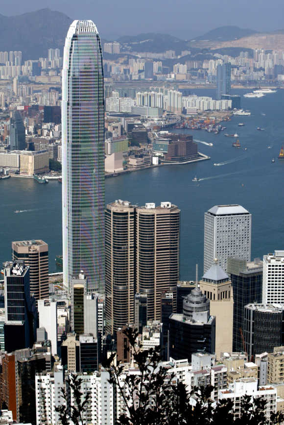 The 88-storey high Two IFC, the highest building in Hong Kong, stands on the waterfront facing the territory's Victoria Harbour.